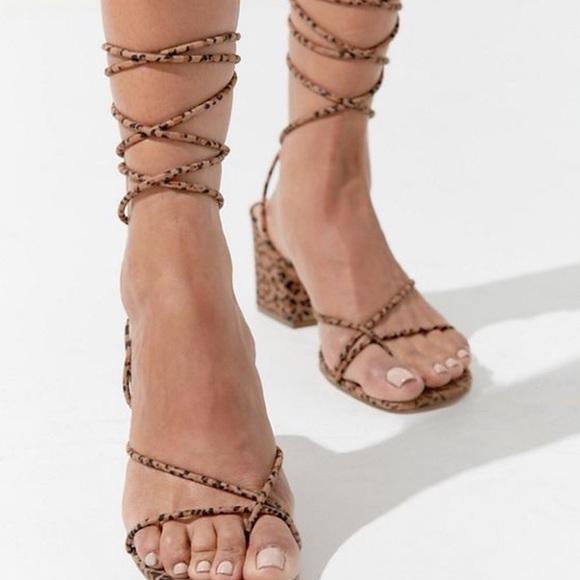Cheetah ankle wrap sandals